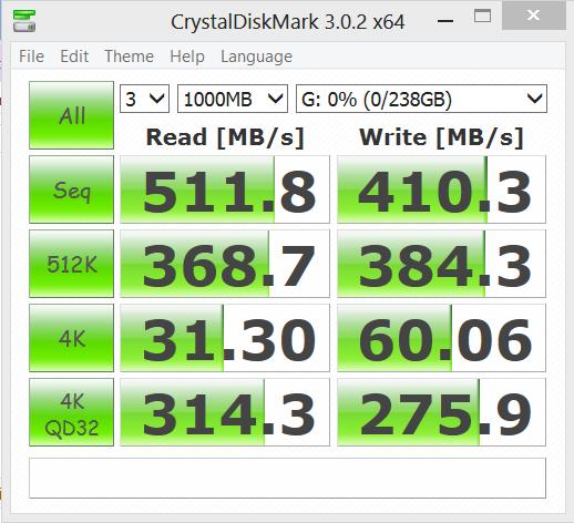 Plextor M5M 256GB mSATA SSD Crystal DiskMark