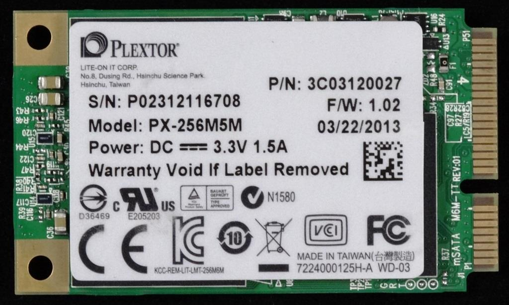 Plextor M5M mSATA SSD Front2