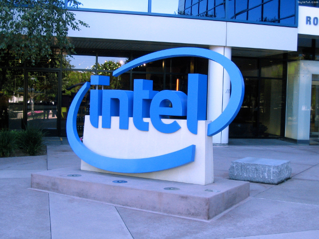 Intel logo sign