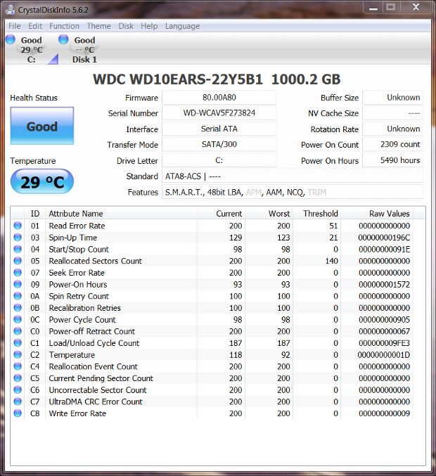 HDD only Crystal Disk Info