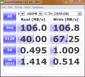 HDD only  Crystal DiskMark 0-fill