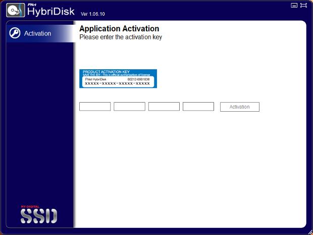 HybriDisk activation screen