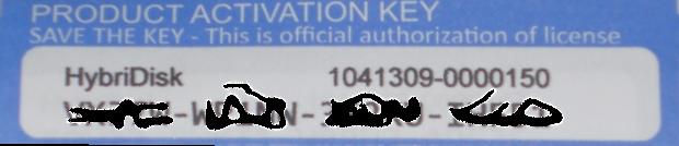 HybriDisk license key label