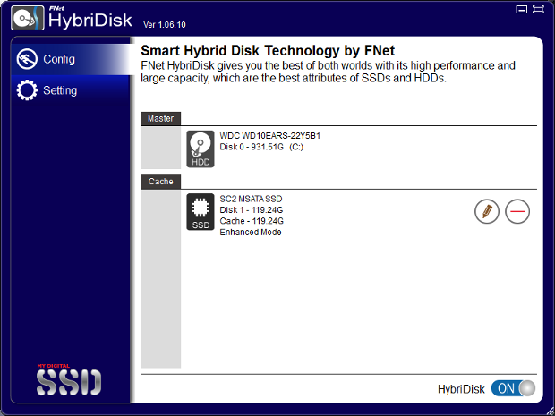 HybriDisk main screen cache configured