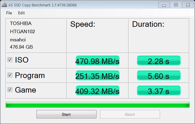 Toshiba 512GB M.2 AS SSD Copy Bench