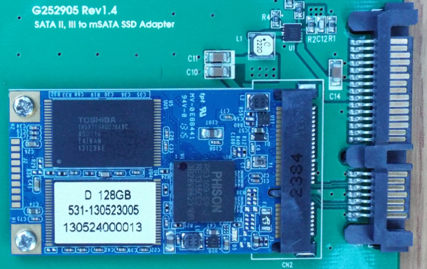 mSATA adapter with mSATA SSD installed closeup