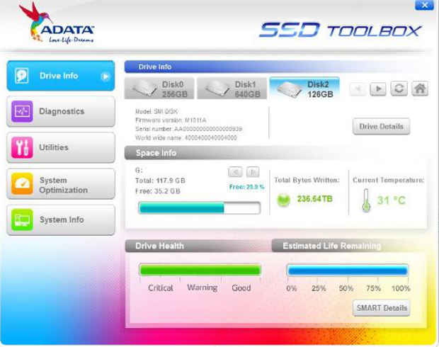 Adata SSD Toolbox drive info screen