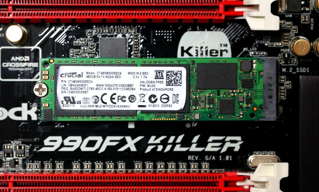 Crucial M500 512GB SATA M.2 SSD in ASRock FX990 Killer Mobo