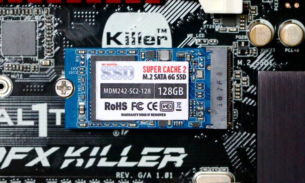 MyDigitalSSD SC2 128GB SATA M.2 SSD in ASRock FX990 Killer Mobo