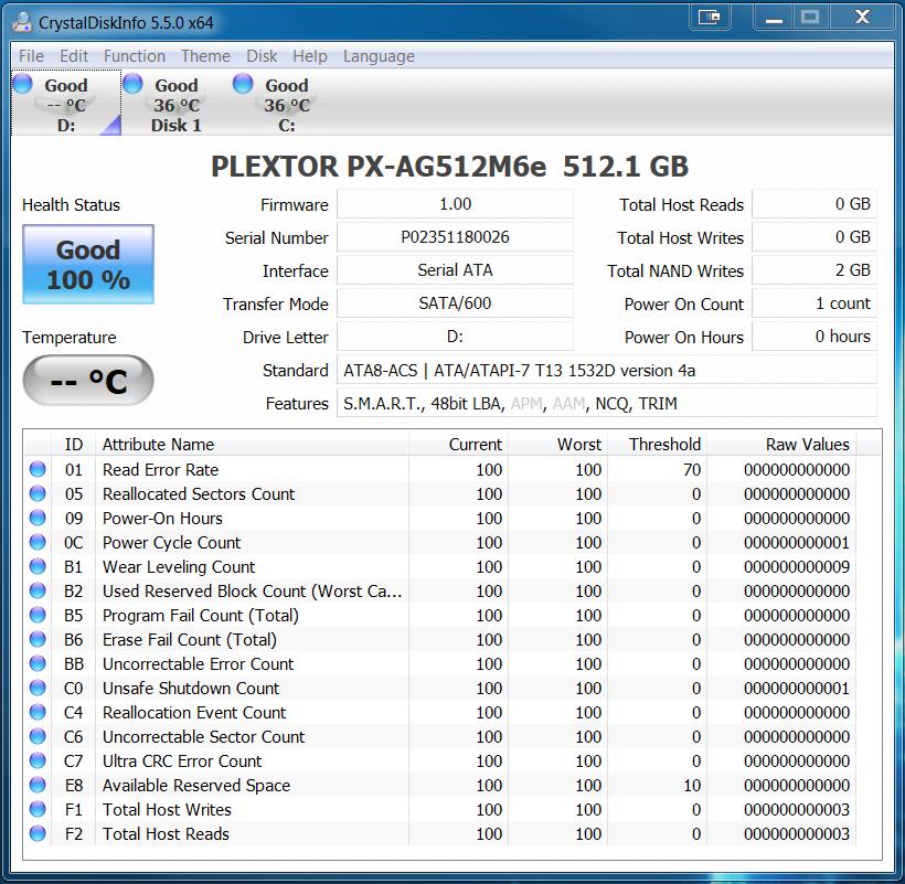 Plextor M6e PCIe M.2 512GB SSD CDI
