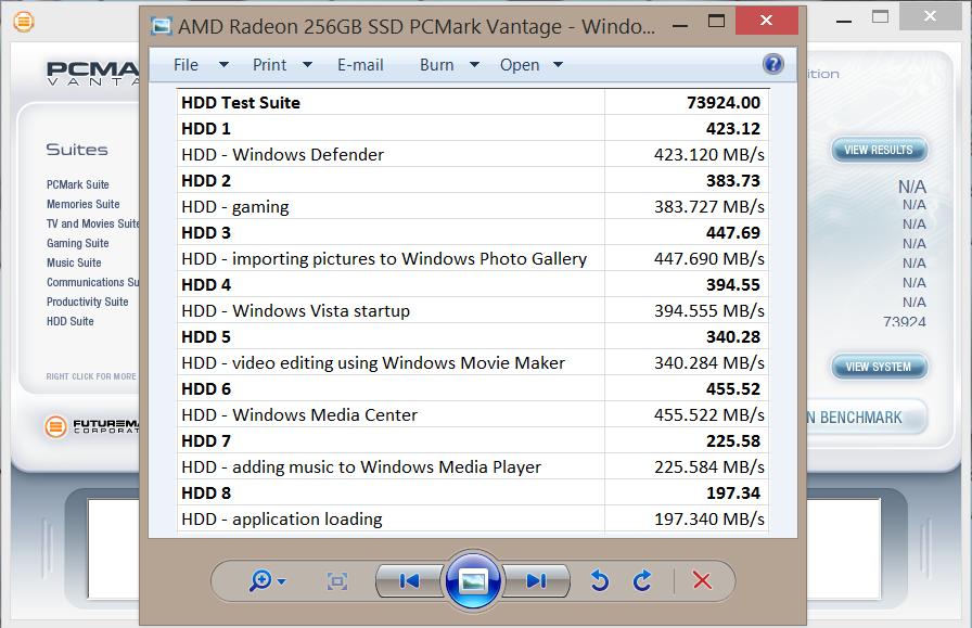 AMD Radeon 256GB SSD PCMark Vantage