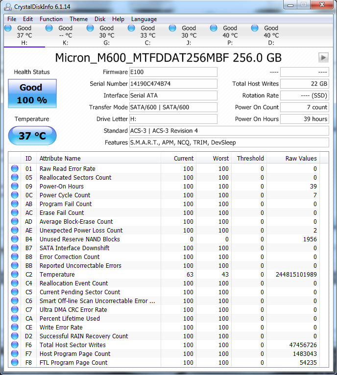 Micron M600 mSATA 256GB Crystal Disk Info