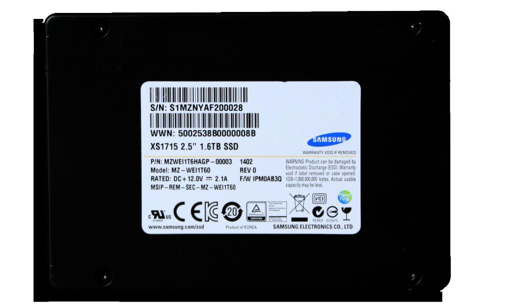 Samsung XS1715 1.6GB NVMe SSD 3x5 Straight