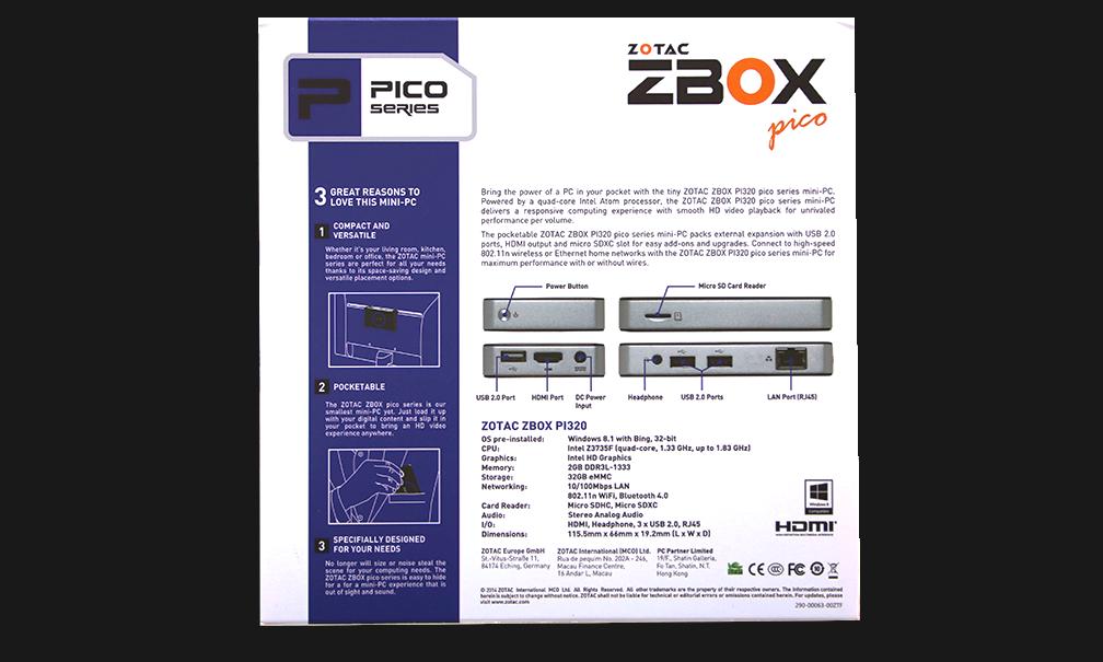 Zotac ZBox Pico External Package Back Wt