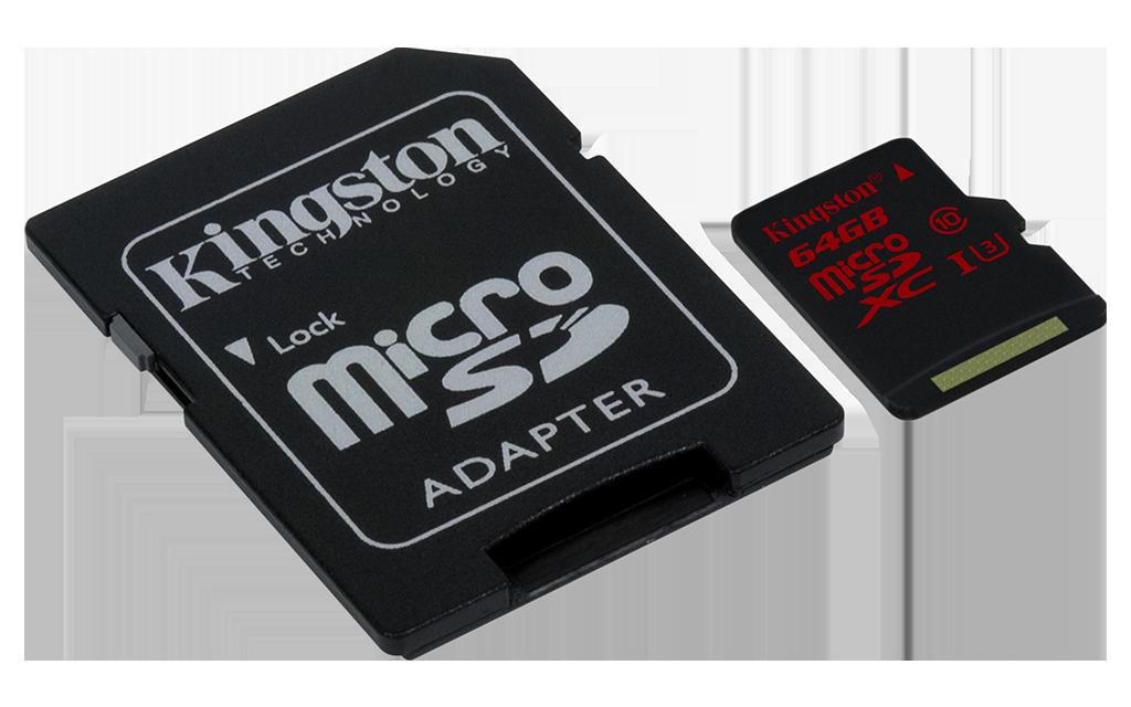 microSDXC UHS-I U3 64GB w Adapter-Angle