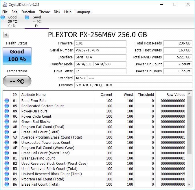 Crystal Disk Info - Plextor M6V