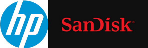 HP SanDisk logos