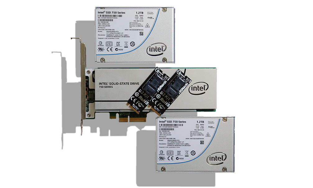 Intel 750 NVMe SSDs with U2 Adapter