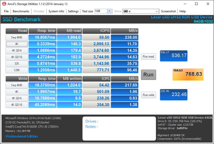 Lexar 1800x micro SDXC testing 5