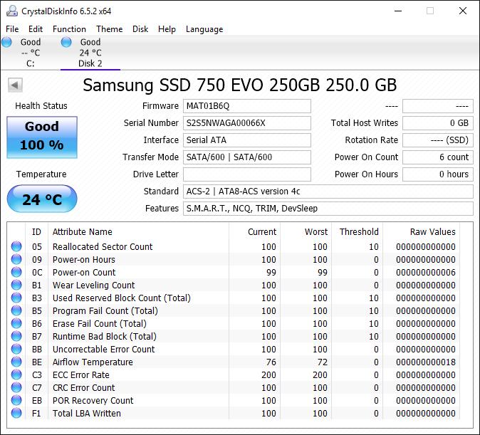 Samsung 750 EVO 250GB Tests 1
