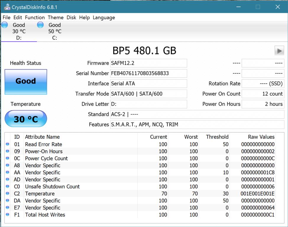 MyDigitalSSD BP5e 480GB M2 SATA 3 Crystal Disk Info