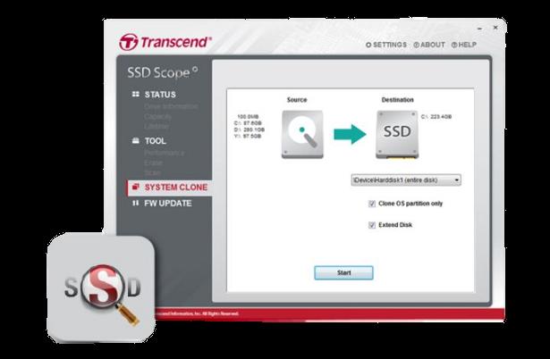 Transcend MTE850 SSD Scope software