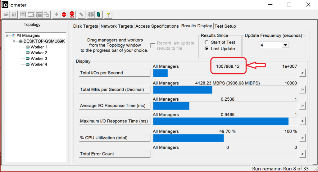 DCP1000 Read IOPS at 1Mil