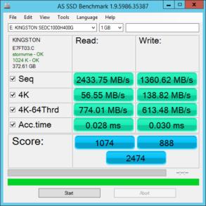 Kingston DCP1000 1.6TB Single Vol AS SSD