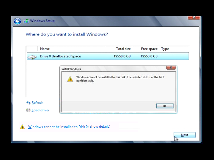 WINDOWS 7 GPT ERROR