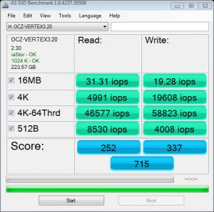 OCZ Vertex 3.20 AS SSD IOPS