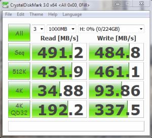 OCZ Vertex 3.20 CDM 0Fill Result