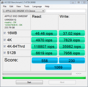 APPLE SSD SM0256 AS SSD IOPS