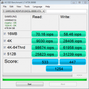 OPT Samsung XP941 M2 512GB AS SSD IOPS