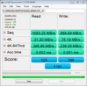 Samsung XP941 M2 512GB AS SSD Bench