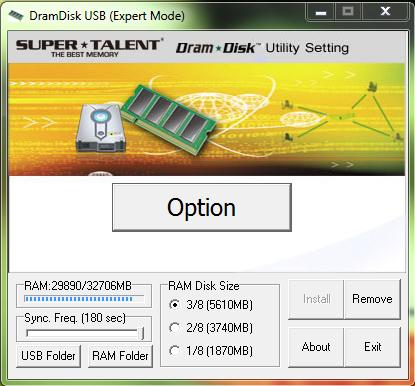 SuperTalent DRAMDisk User Panel