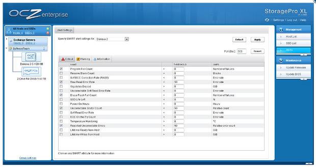 OCZ Storage Pro customizable alerts