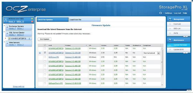 OCZ Storage Pro frimware update screen