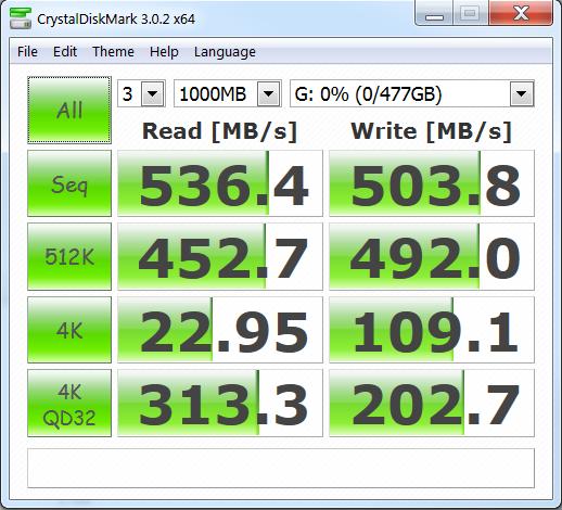 Toshiba 512GB M.2 Crystal DiskMark