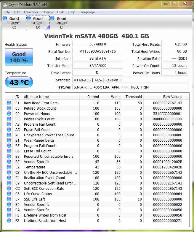 Visiontek 480GB mSATA SSD CDI