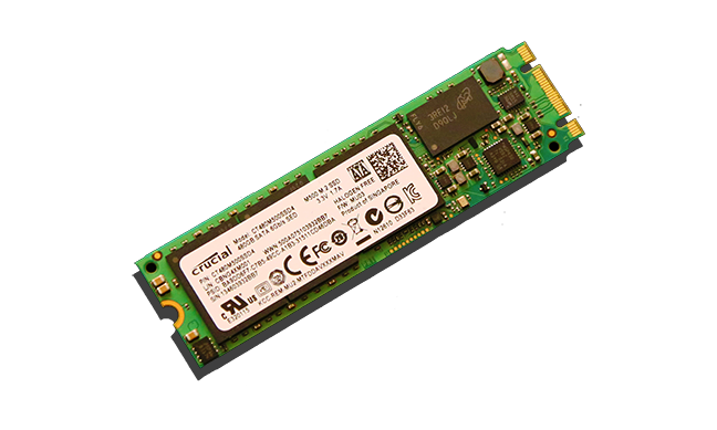 Crucial M550 M.2 NGFF SSD Angled 3x5