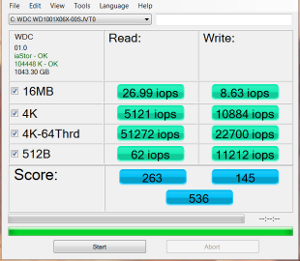 WD Black2 after migration and partition software install AS SSD IOPS