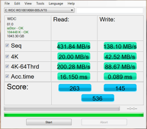 WD Black2 after migration and partition software install AS SSD MBs