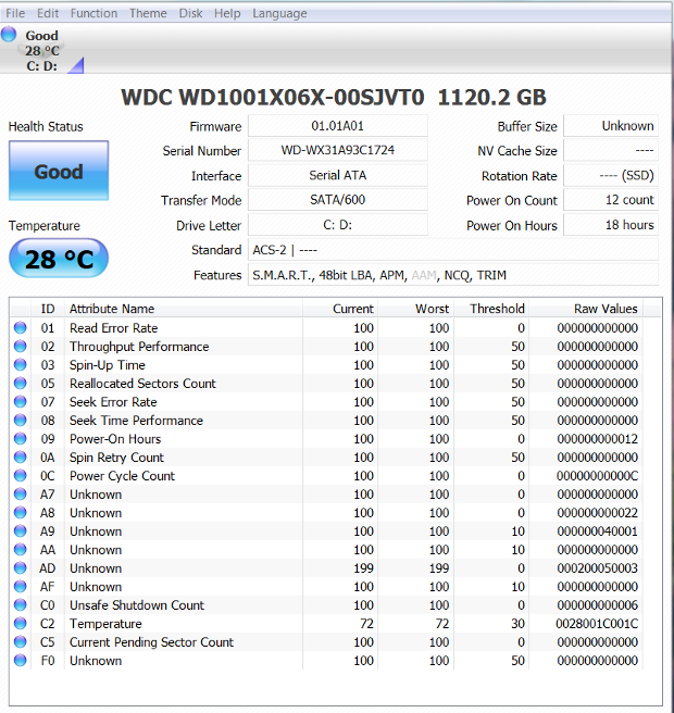 WD Black2 after migration and partition software install CrystalDiskInfo
