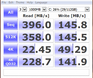 WD Black2 after migration and partition software install CrystalDiskMark random