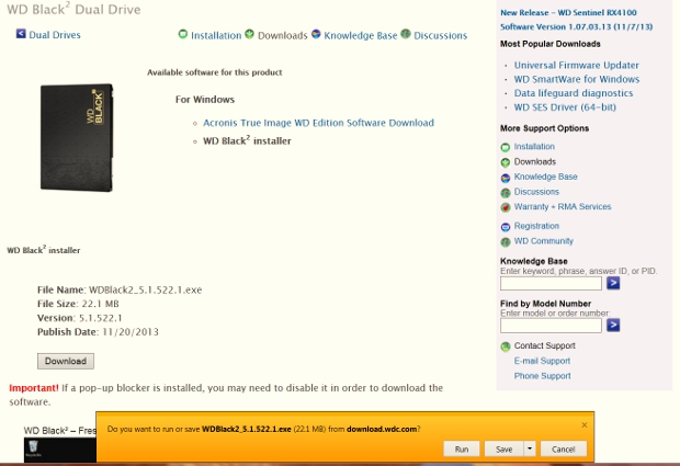 WD Black2 partition software install screen4