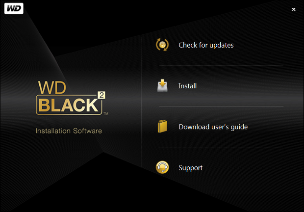WD Black2 partition software installation screen6