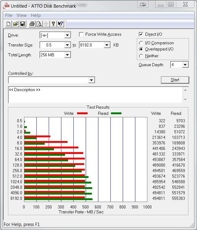 Intel SSD 730 Series 480GB ATTO