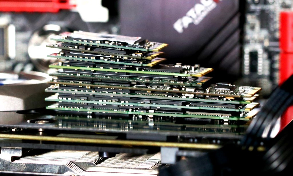 Pile of M.2 SSDs