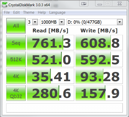 Plextor M6e PCIe M.2 512GB SSD Crystal DiskMark
