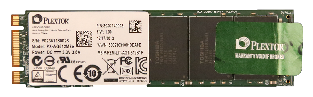 Plextor M6e PCIe M.2 512GB SSD PCB Top2